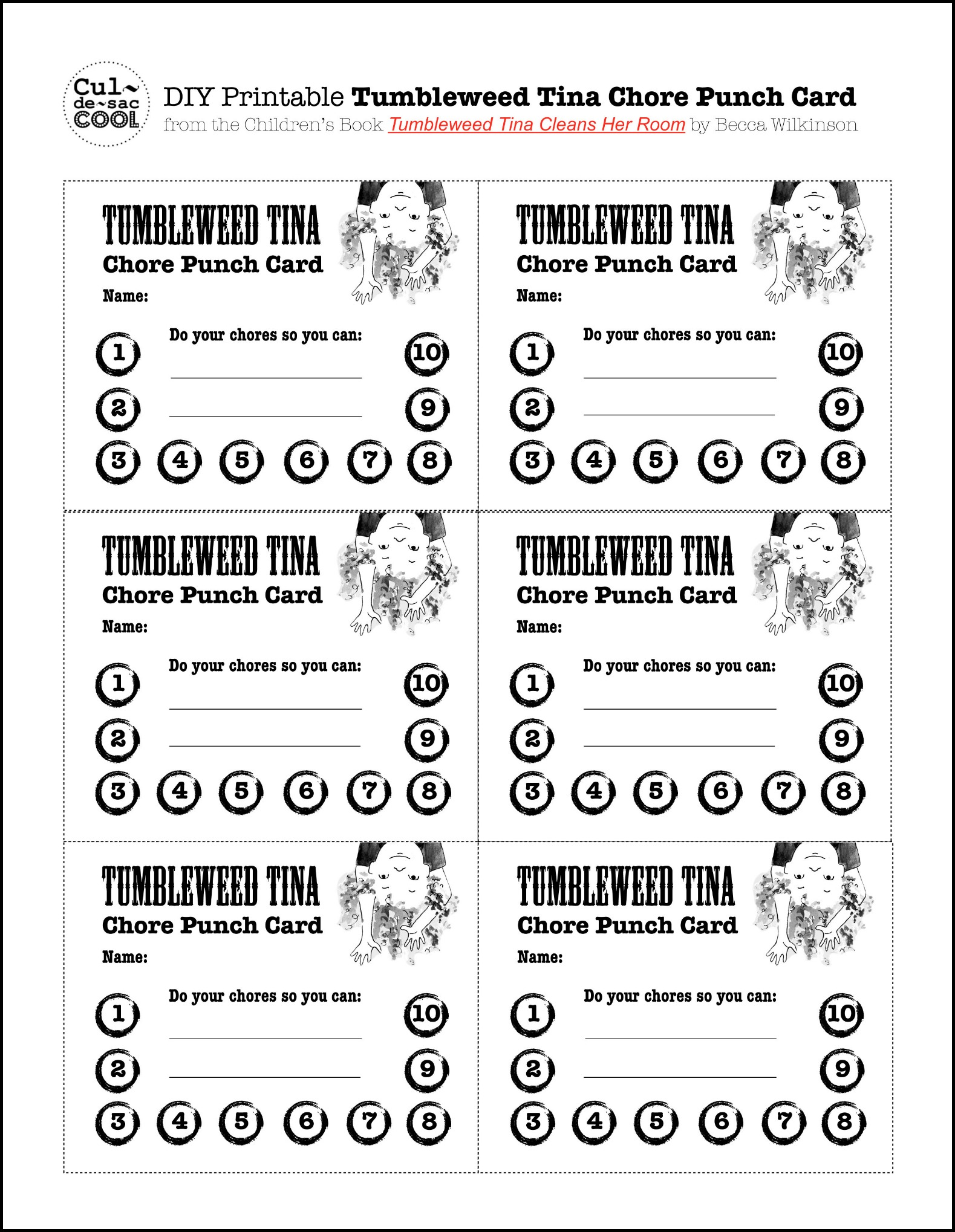 DIY Printable Tumbleweed Tina Chore Punch Card from the Children's ...